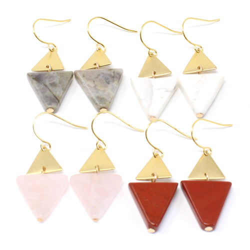 Dallas -- triangle and gem earrings