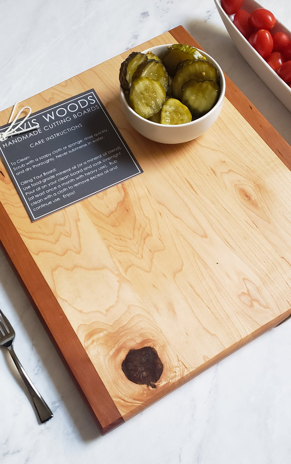 Everyday Multi-Wood Square Cutting Board - CHERRY AND MAPLE