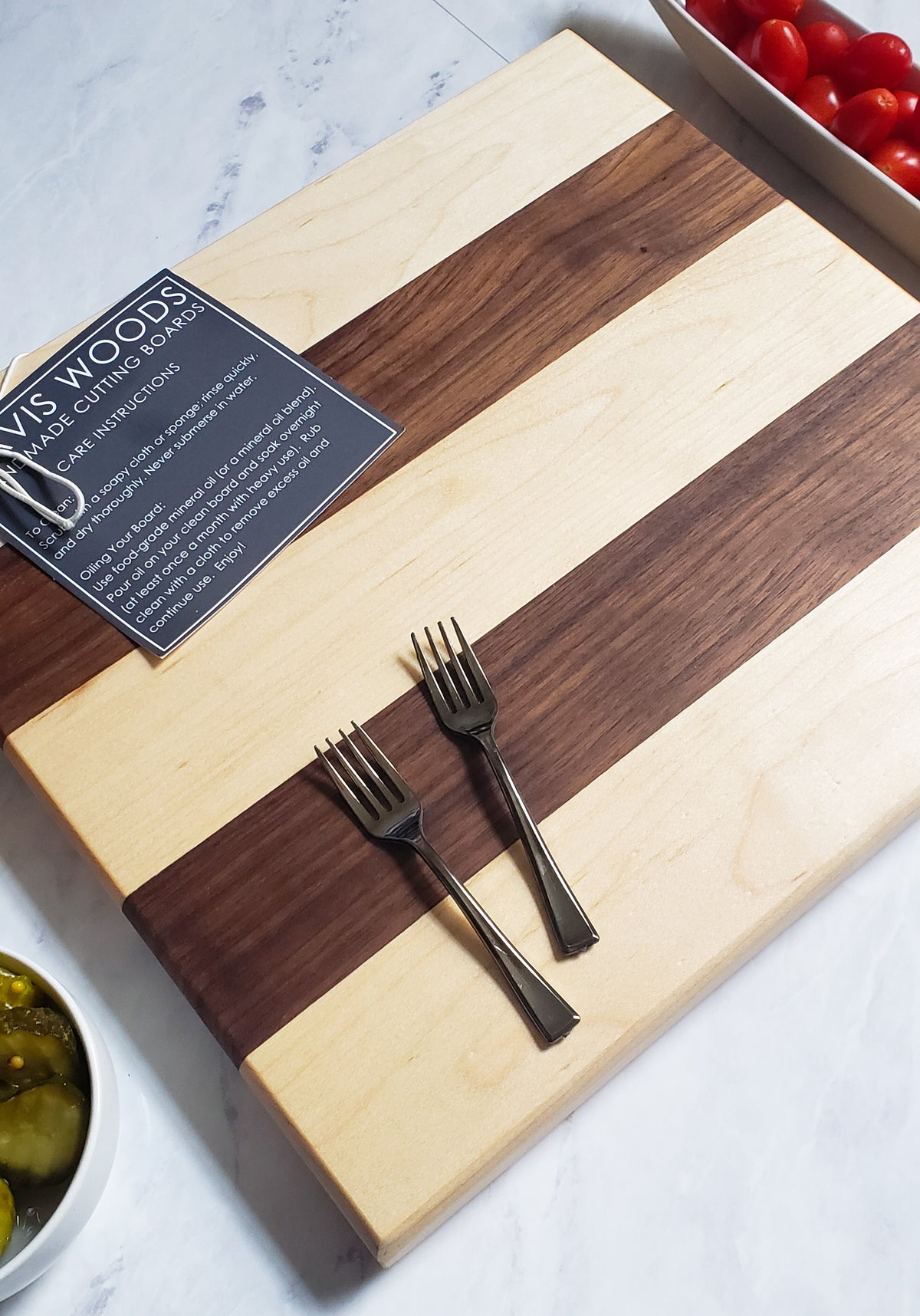 Everyday Multi-Wood Square Cutting Board - Thick Maple and Walnut