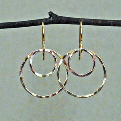 double ring earring - rose gold-filled