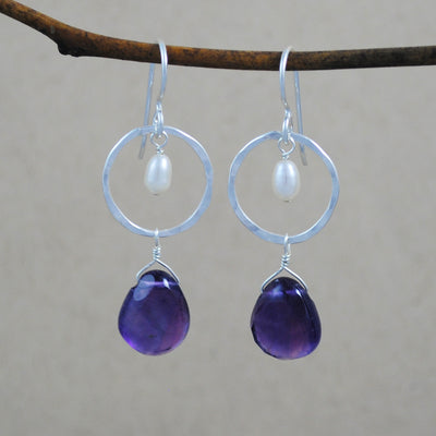 Circle with Stone and Pearl Earrings - sterling