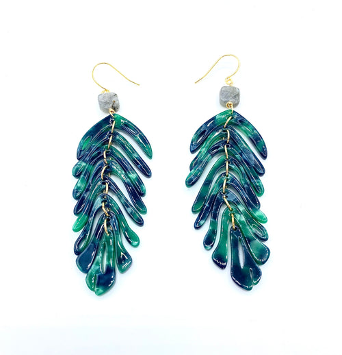 Cannes Acrylic Palm Frond Earrings - green