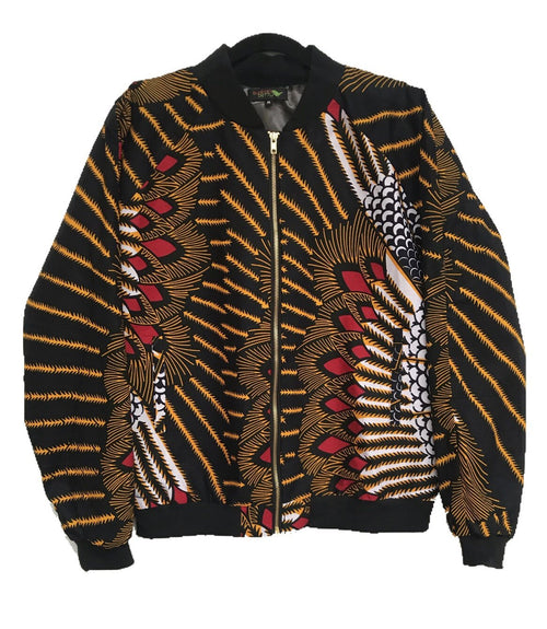 African Print RiRi Bomber Jacket - Onyx/Gold - suakoko betty