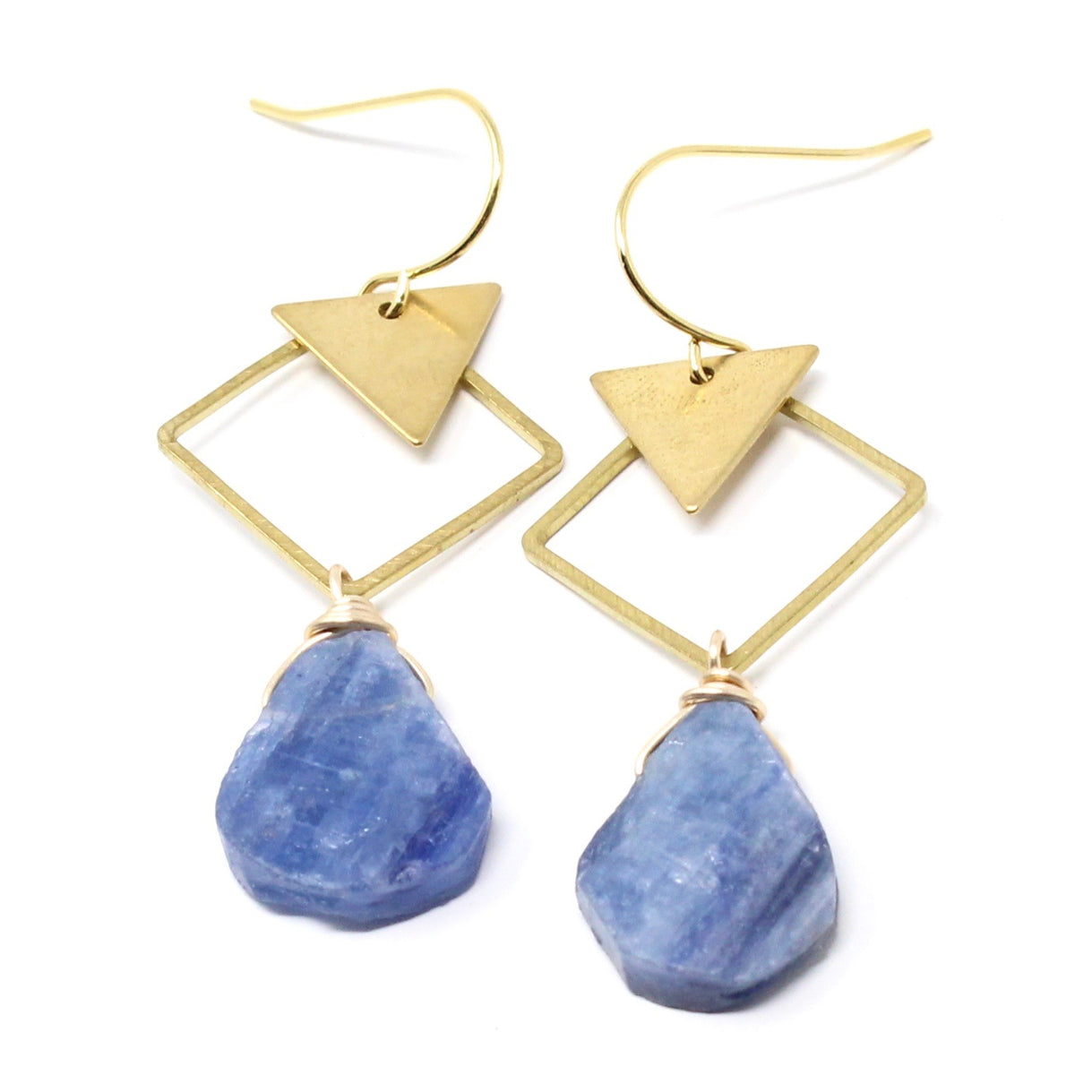 Harbor - raw kyanite geometric earrings