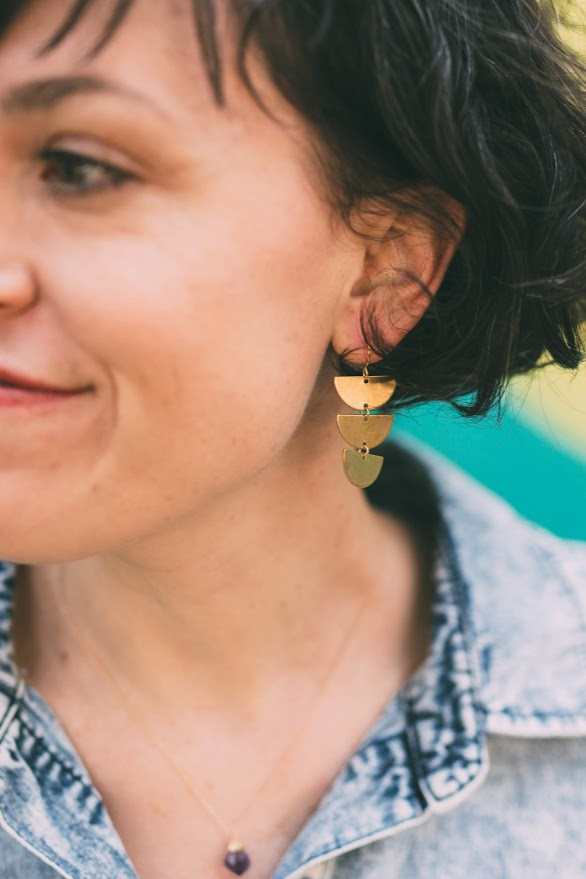 Harvest - triple half circle earrings