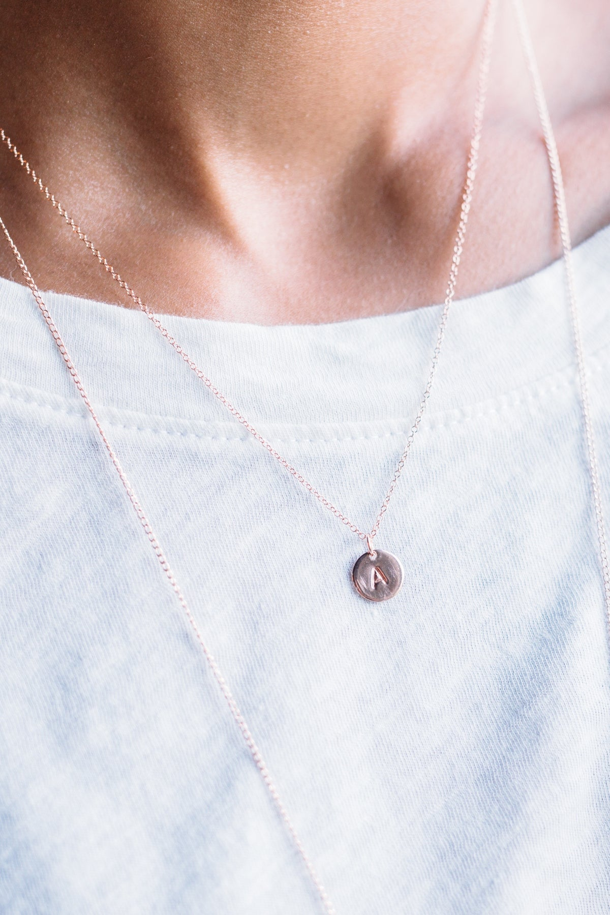 Rose Stamped - rose gold-fill stamped necklace