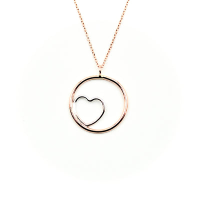Nestled Heart Rose Gold-Filled Circle Necklace