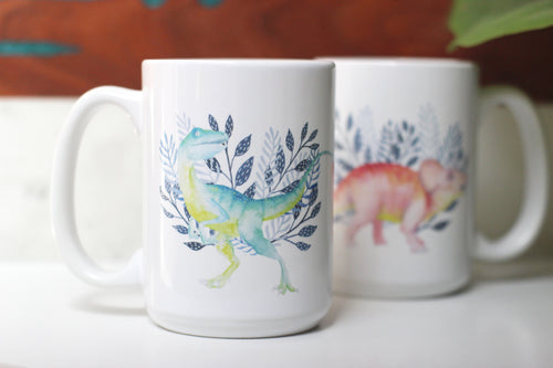 Mug - Dinosaurs - Raptor and Triceratops
