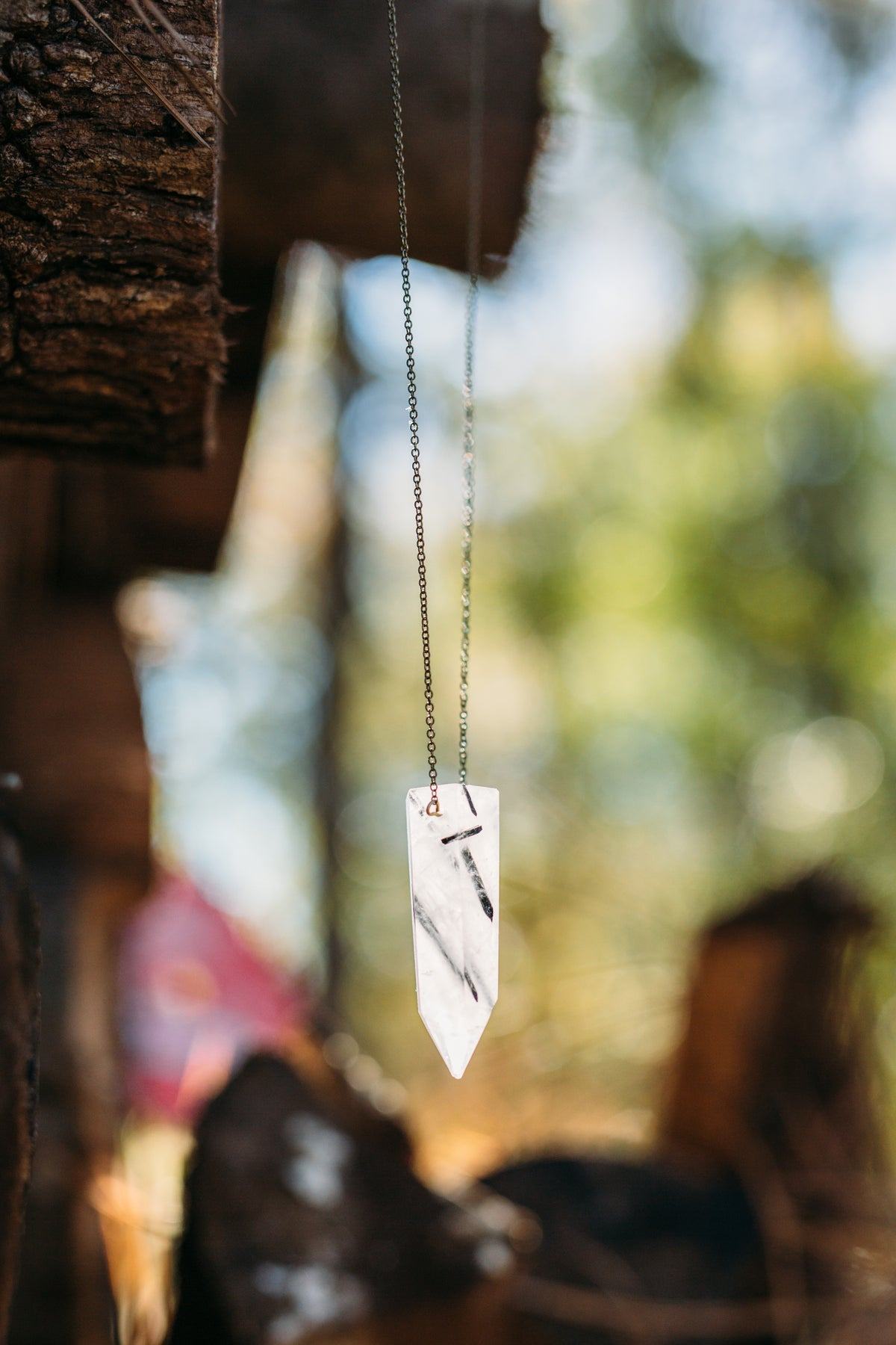 Hive XL -- tourmilated quartz pendant