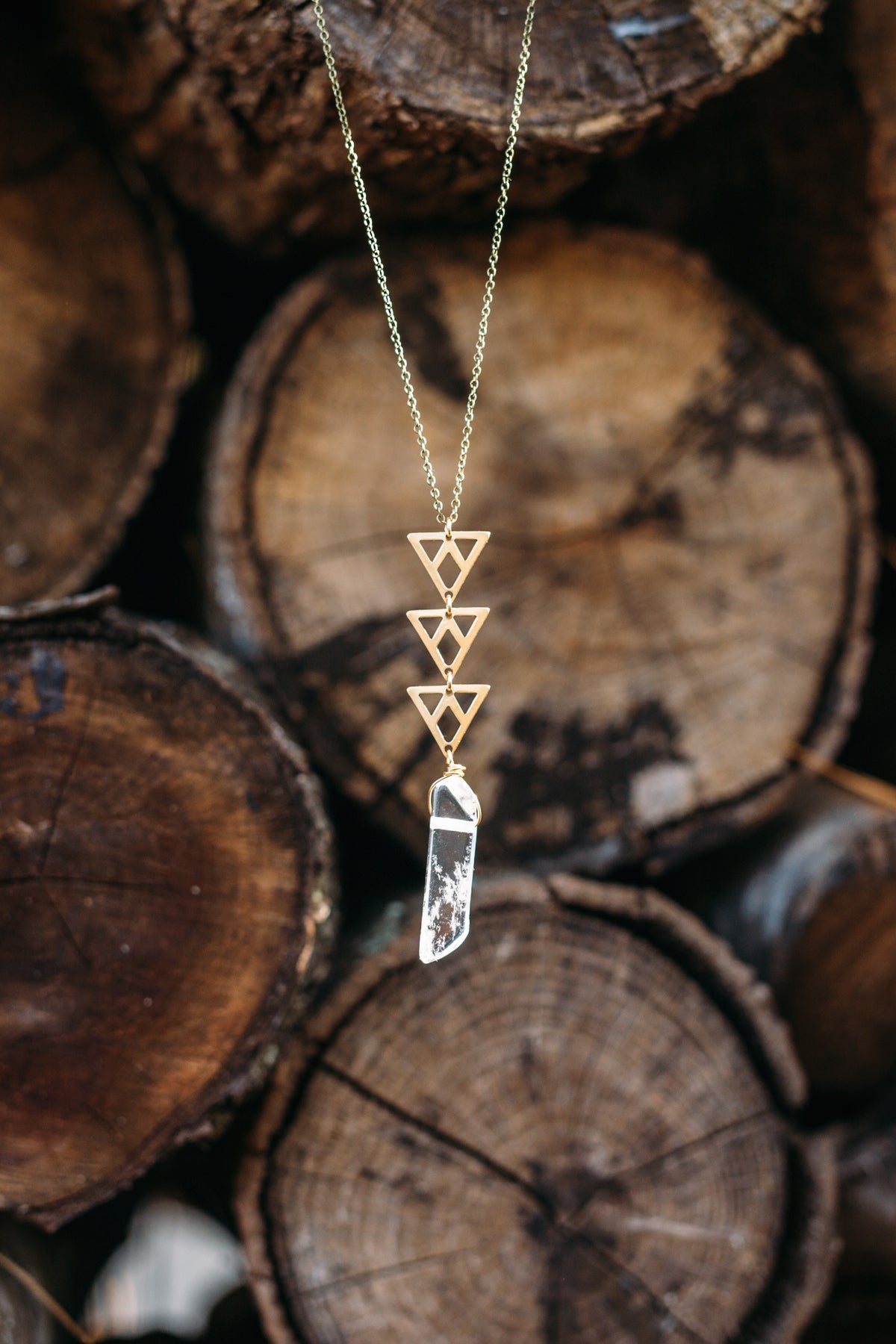 Castello -- gemstone spear and triangles necklace