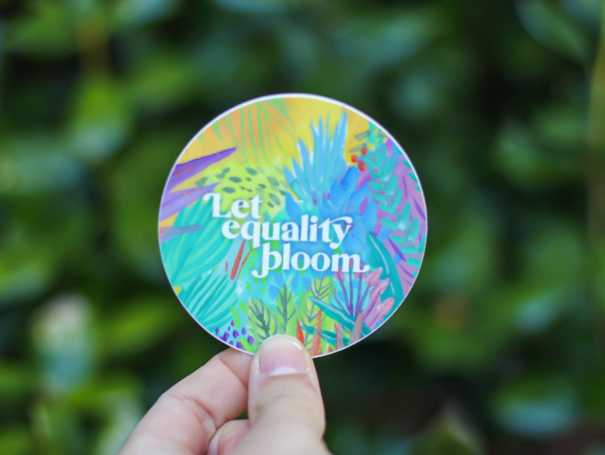 Equal Rights Sticker - Christmas Gift for Friend - Let Equality Bloom - Stocking Stuffer under 5
