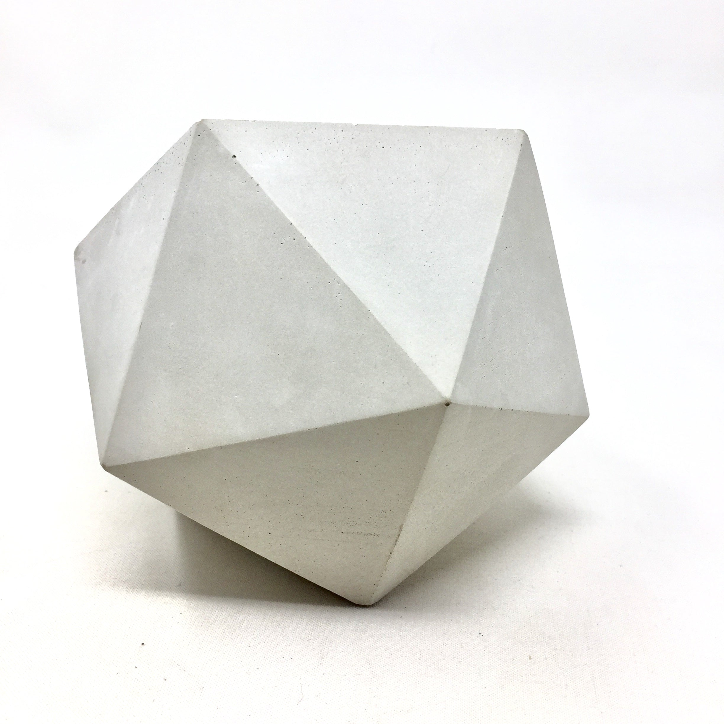 Concrete Geometric Icosahedron Pot (Large)