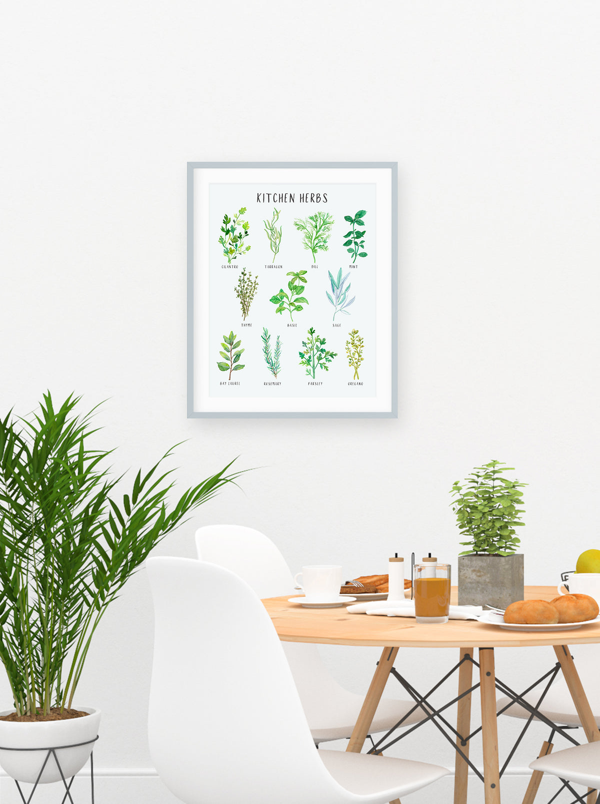 Kitchen Herbs Watercolor Print - Home Decor - Gift for Mom