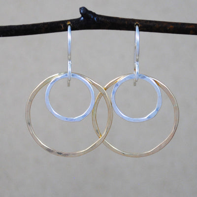 mixed double ring earrings