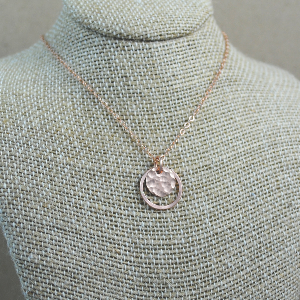 Hammered Halo Pendant - rose gold-filled