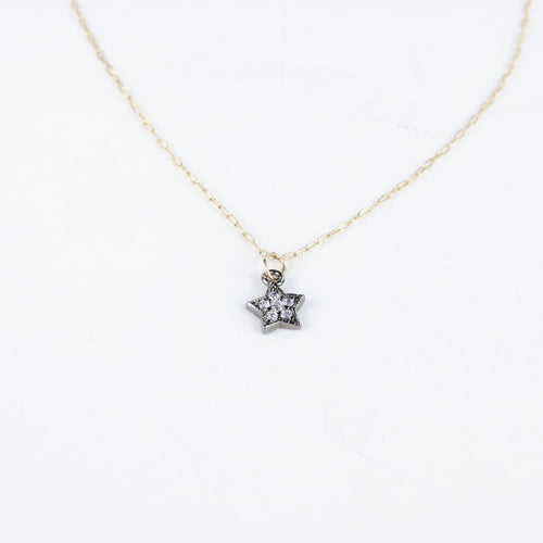 CZ Star Necklace, Oxidized on Gold Filled Chain