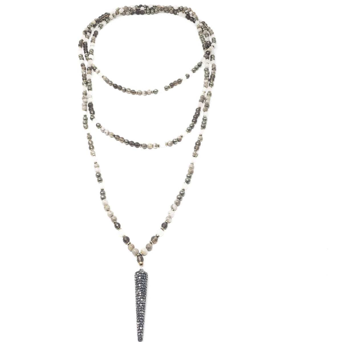Long Layered Spike Necklace