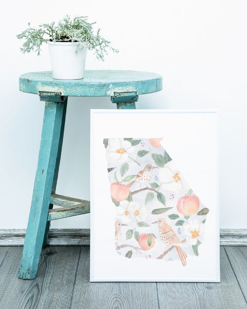 Georgia State Watercolor Pattern Print