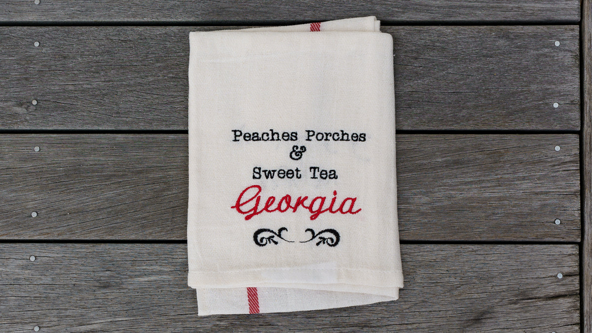 Peaches Porches and Sweet Tea Towel