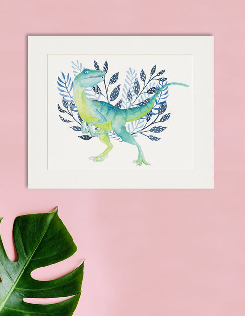 Dino - Raptor Watercolor Print - Dinosaur Art