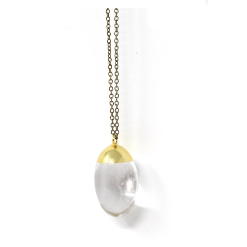 Hive -- round smooth quartz pendant
