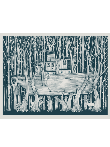 Tugboat in woods