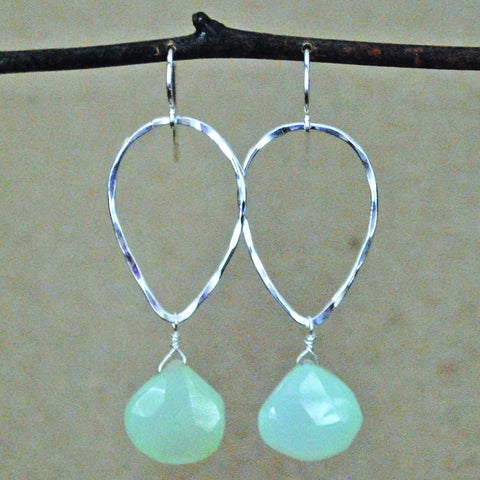 teardrop and stone earrings - sterling silver