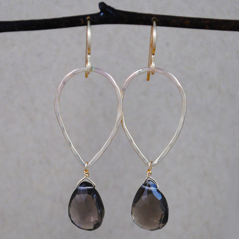 teardrop and stone earrings - gold-filled