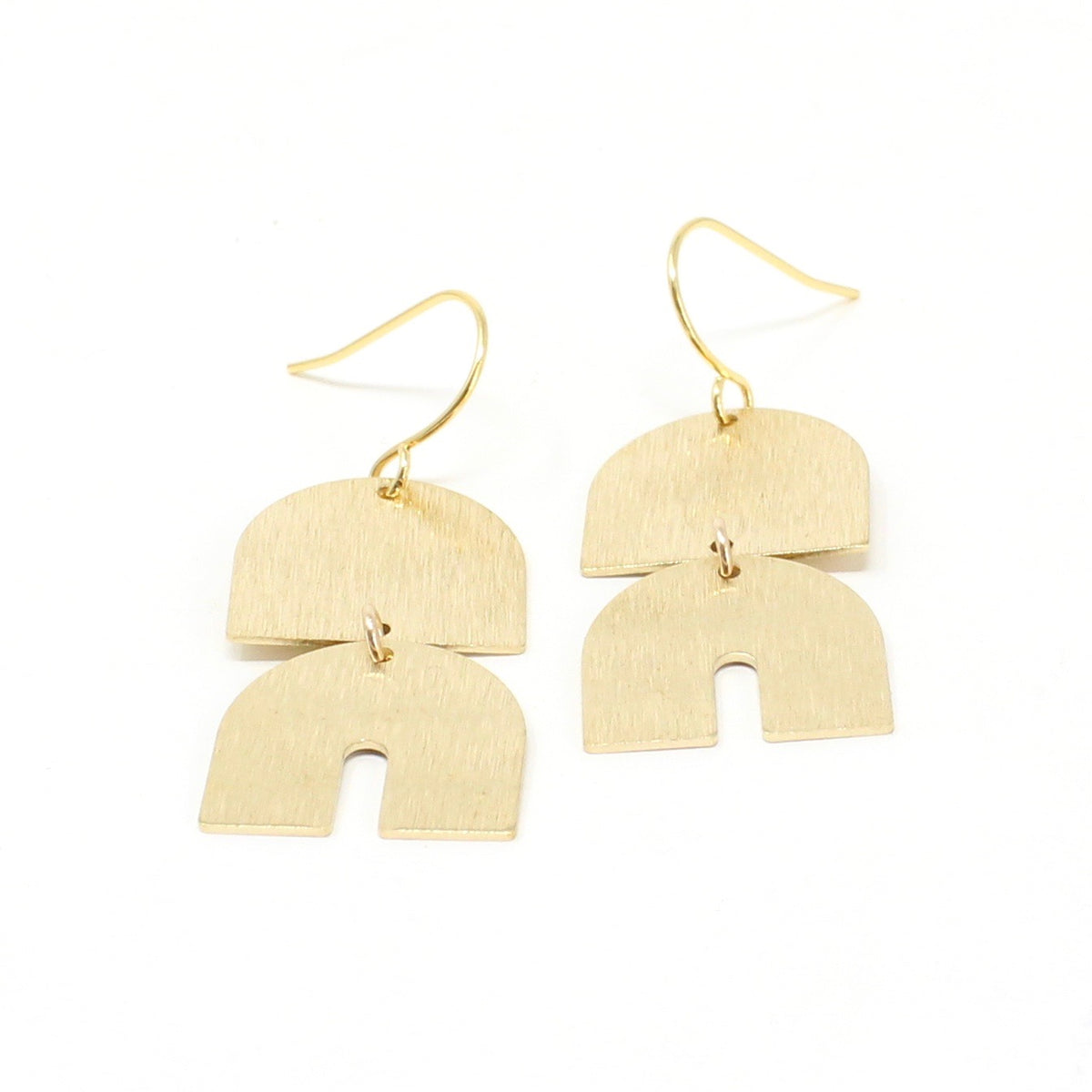 Temple - gold-brushed small earrings