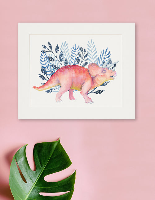 Dino - Triceratops Watercolor Print - Dinosaur Art