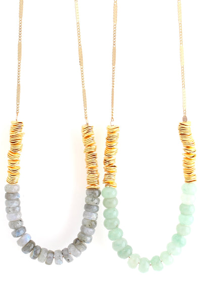 Tide - gemstone & gold colorblock necklace