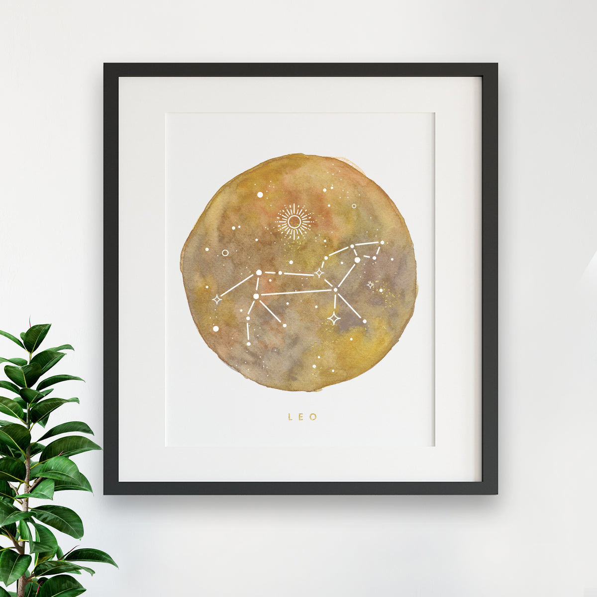 Zodiac Print - LEO Constellation Watercolor Painting - Leo
