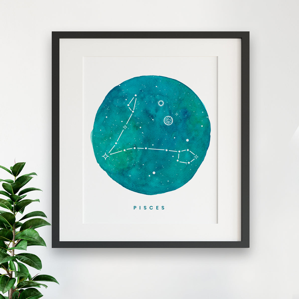Zodiac Print - PISCES Constellation Watercolor Painting