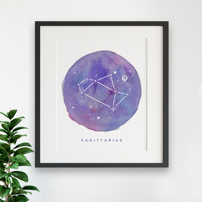 Zodiac Print - SAGITTARIUS Constellation Watercolor Painting - Sagittarius