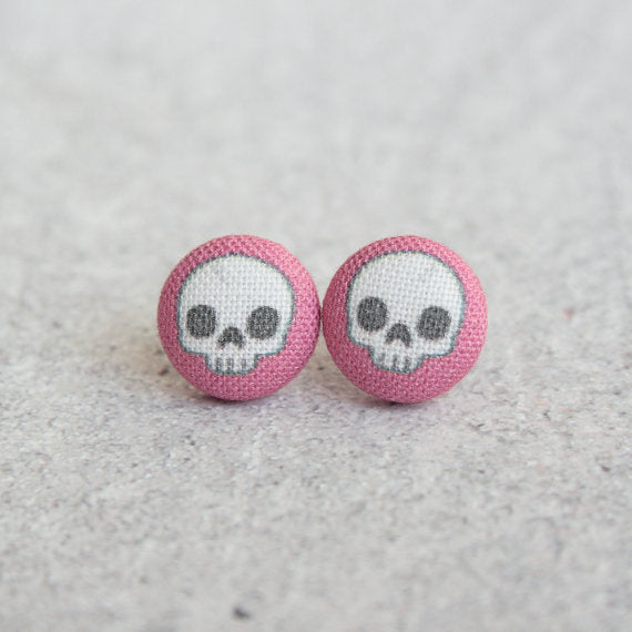 Rachel O's - Adorable Skulls in Hot Pink Fabric Button Earrings