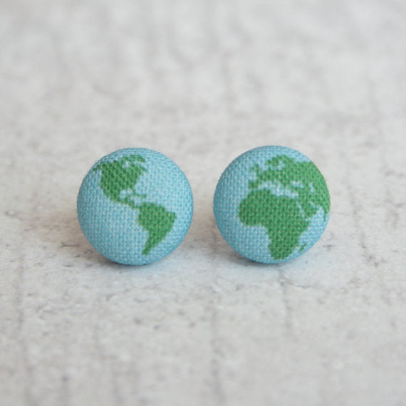 Rachel O's - Planet Earth Fabric Button Earrings
