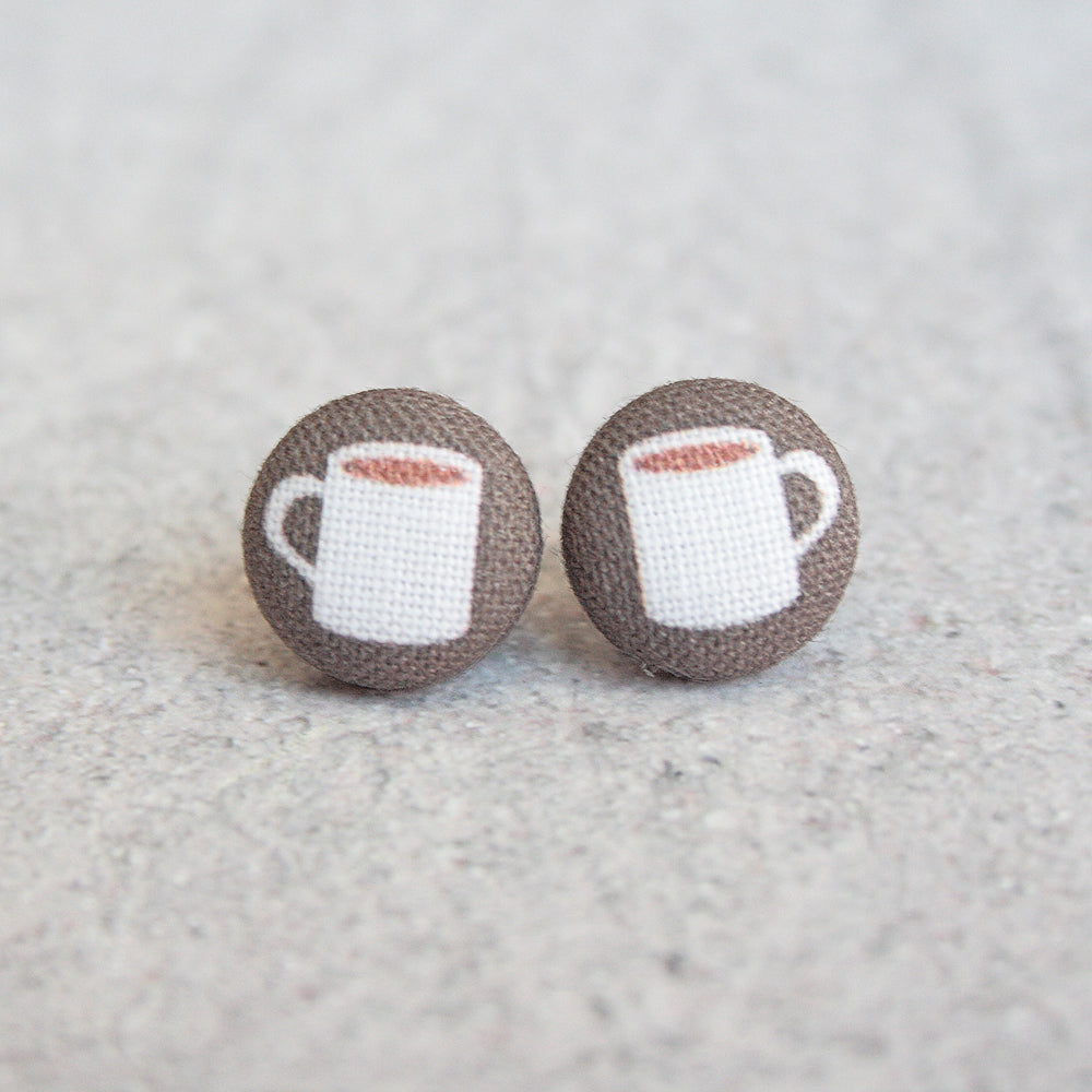 Rachel O's - Coffee Fabric Button Earrings