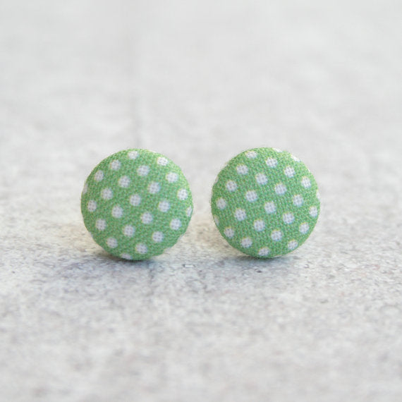 Rachel O's - Lawn Dots Fabric Button Earrings