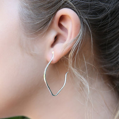 almond hoop earrings - sterling silver