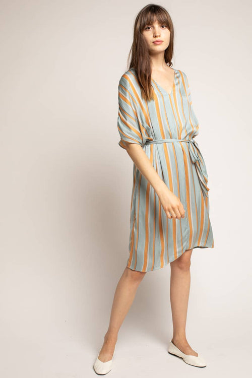 Striped Flowy Satin Dress