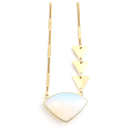 Arrows -- opal gemstone and triangles necklace