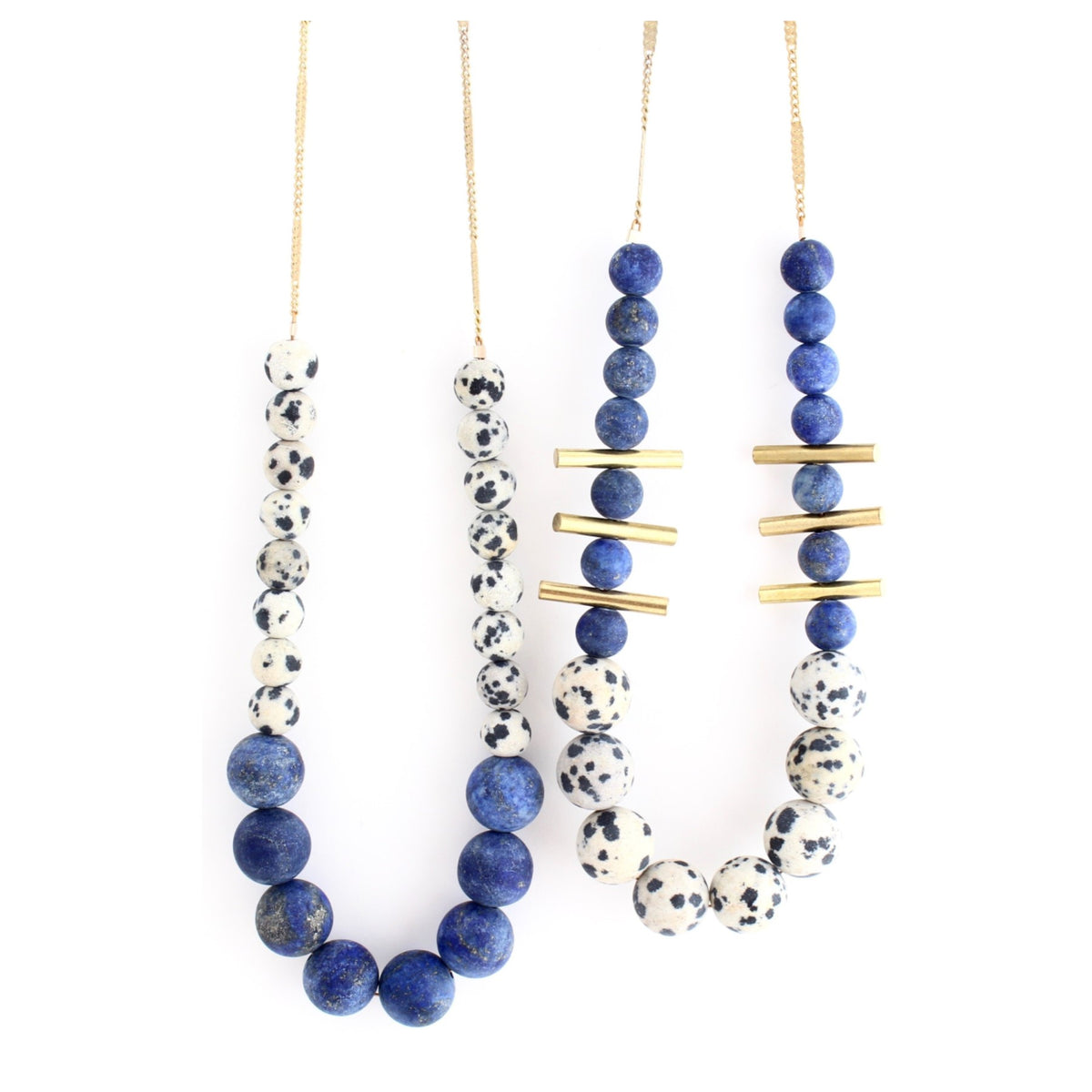 Aussie -- blue beaded color-block necklace