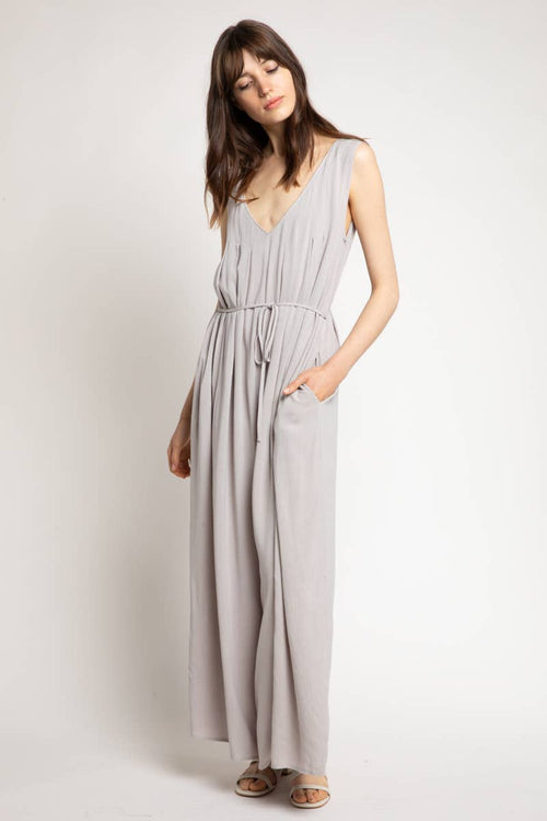 Gray Pleated Linen Jumpsuit