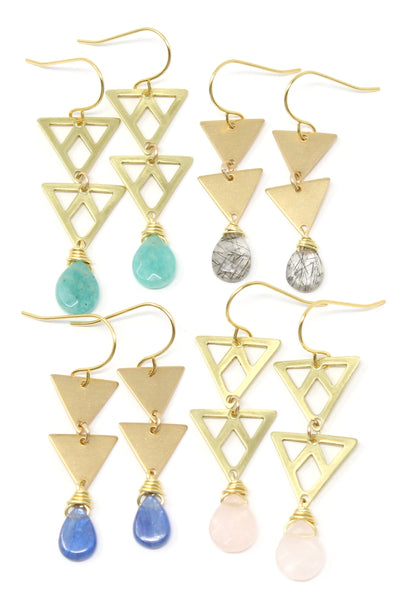Belz - gem and double triangle earrings
