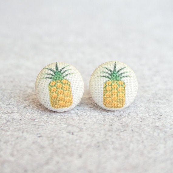 Rachel O's - Pineapple Fabric Button Earrings
