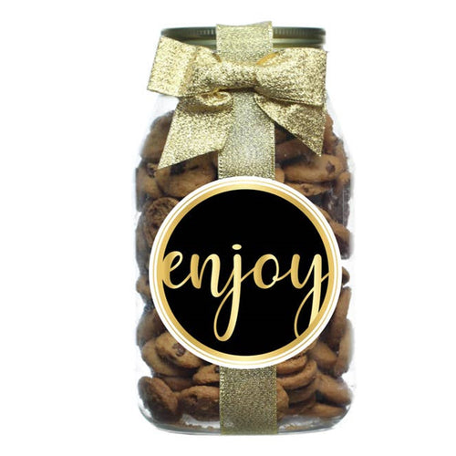 For You Black & Gold Quart Gift Chocolate Chip Cookie Jar - Choose Your Label