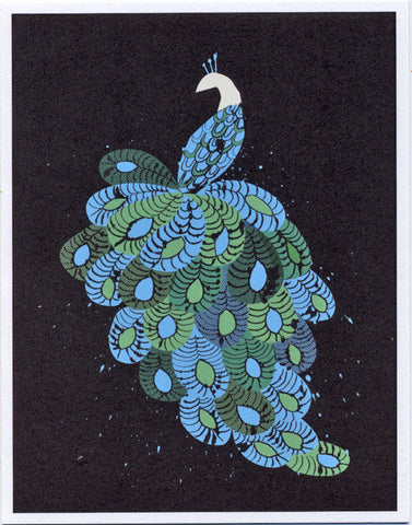Blue peacock greeting card