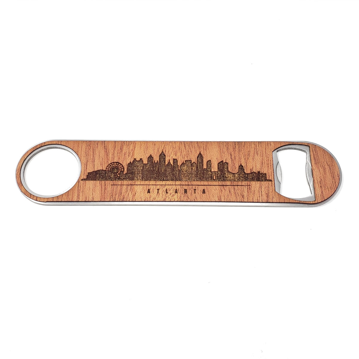 Atlanta Skyline Wood and Aluminum Bottle Opener
