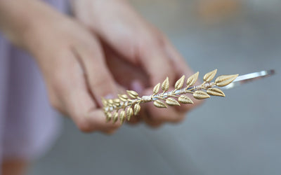 brass leaf headband