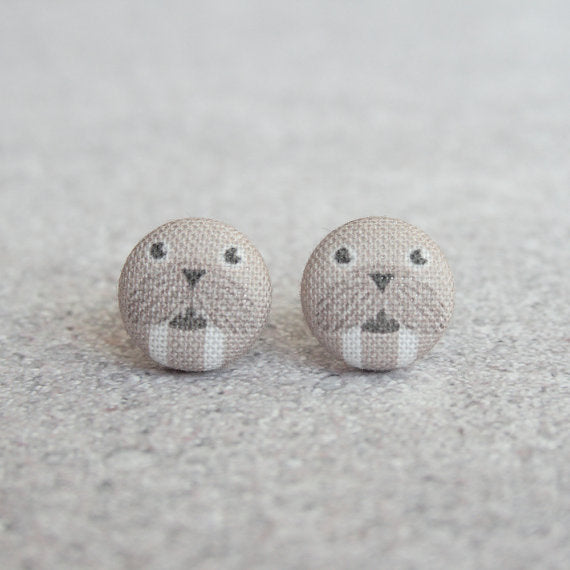 Rachel O's - Walrus Fabric Button Earrings